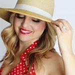 pretty girl, polka dot, straw hat
