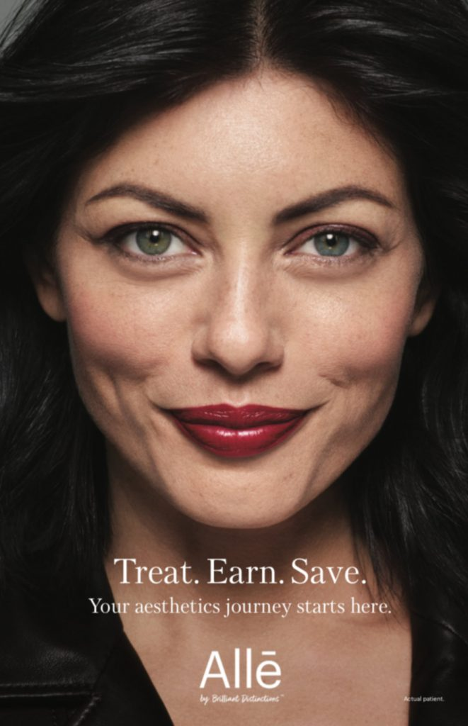 Picture of a patient treated with dermal fillers in a brochure for Allergan's Alle program.
